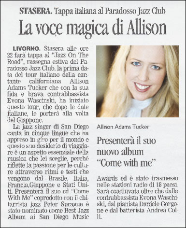 Allison Adams Tucker at il Paradosso Jazz Club